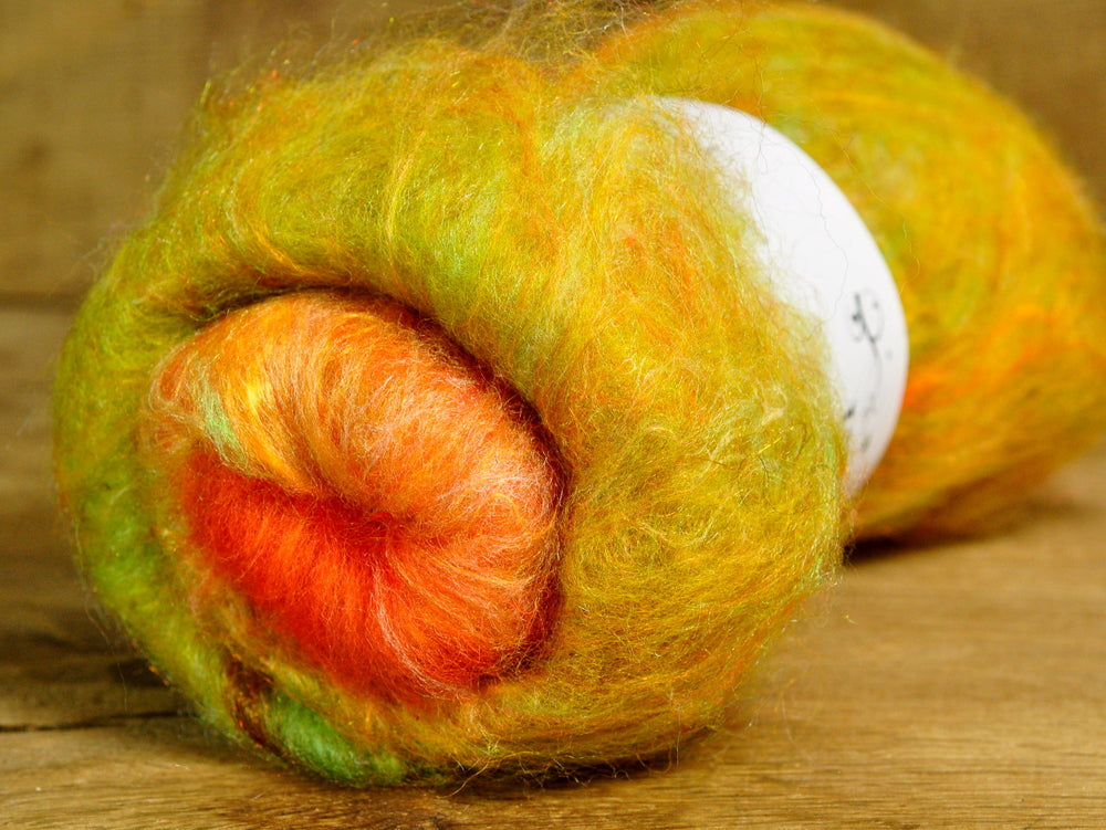 Carded Wool/Luxury Fibre Mystery Batt 50g - 'Citrus Peel'