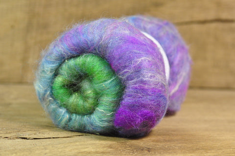 Carded Wool/Luxury Fibre Batt 50g - 'Cranesbill'