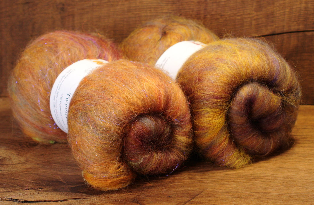 Tweedy Carded Wool/Luxury Fibre Mystery Batt Set 100g - 'Desert Mist'