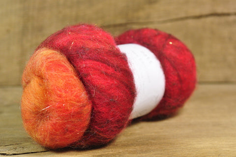 Carded Wool/Luxury Fibre Batt 50g - 'Fire'