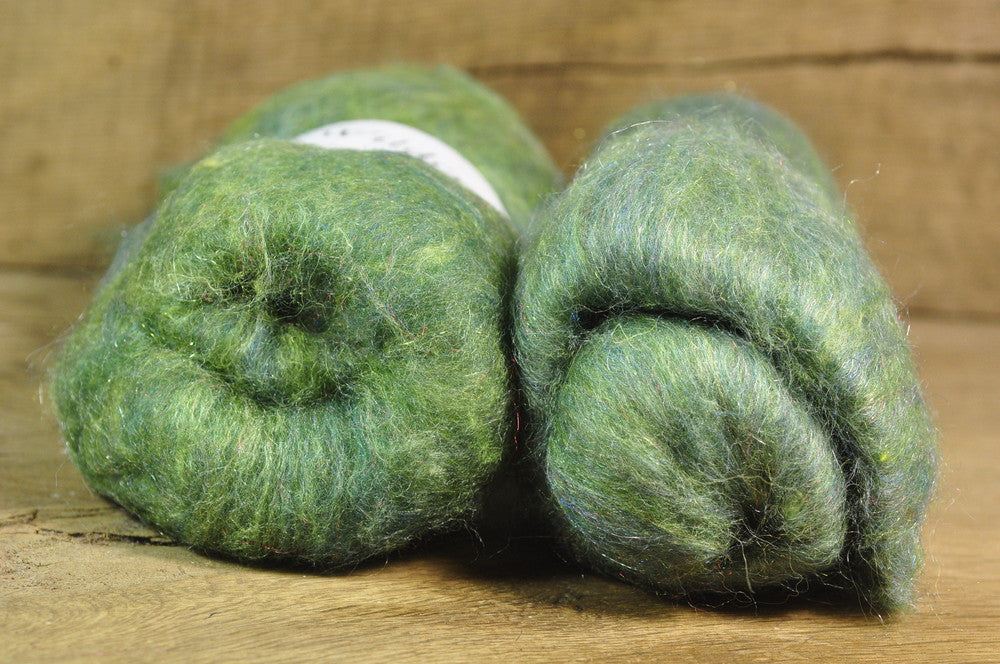 Carded Wool/Luxury Fibre Batt Set, 100g - 'Grassland'