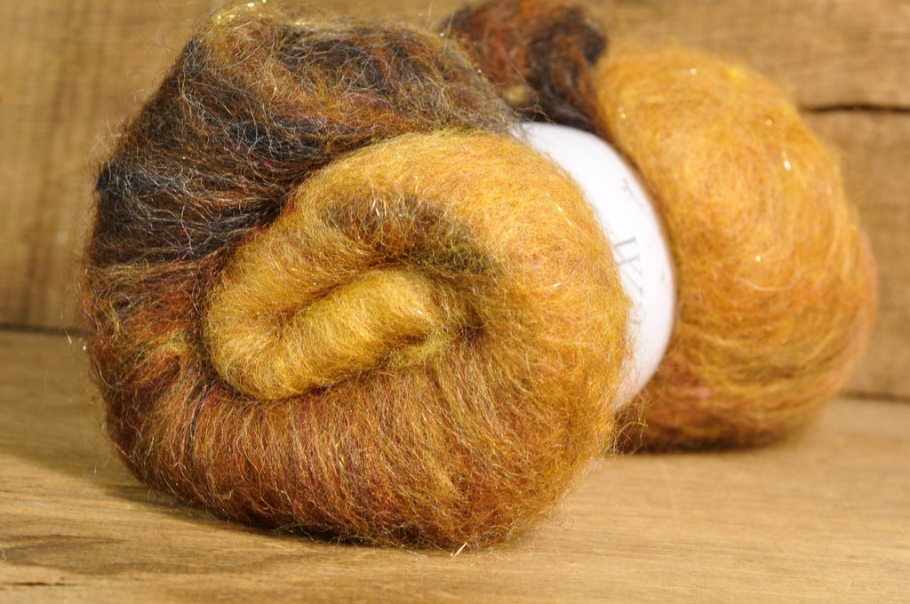 Carded Wool/Luxury Fibre Batt 50g - 'Grizzly Bear'