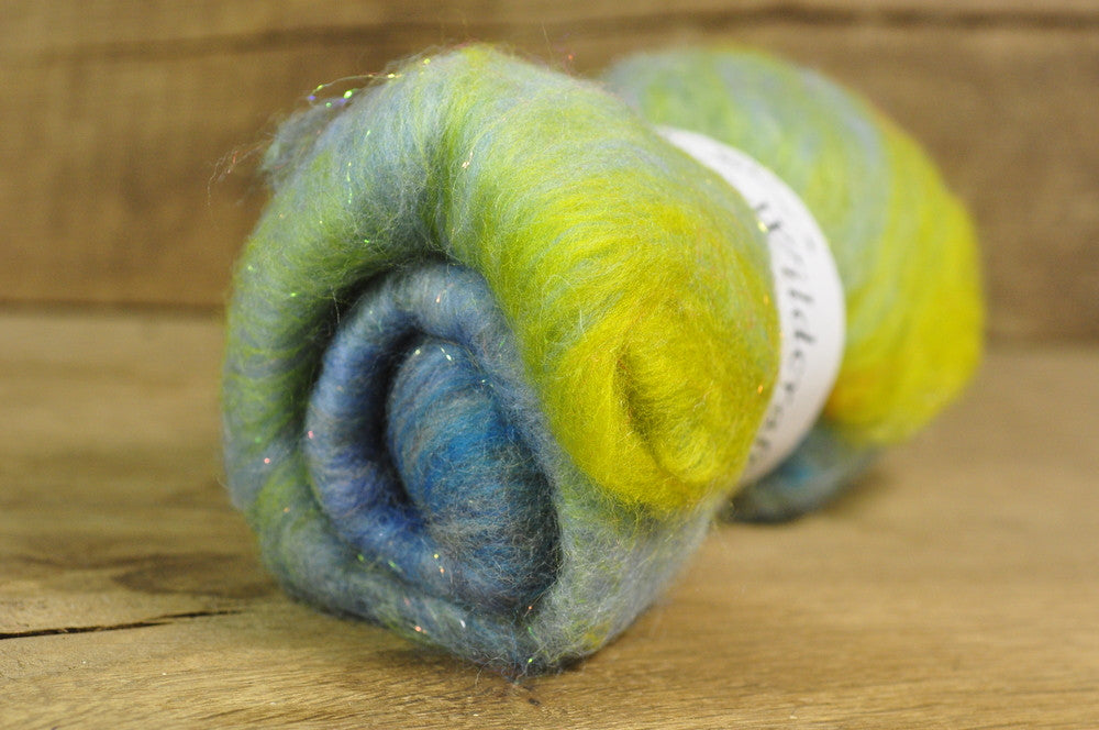 Carded Wool/Luxury Fibre Batt 50g - 'Hay Meadow'