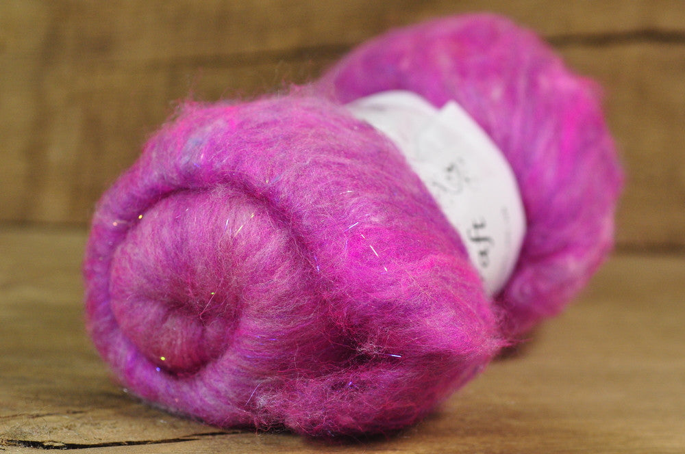 Carded Wool/Luxury Fibre Batt 50g - 'Hot Pink'