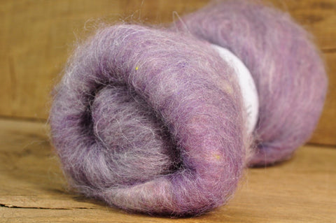 Carded Wool/Luxury Fibre Batt 50g - 'Old Lady Lavender;