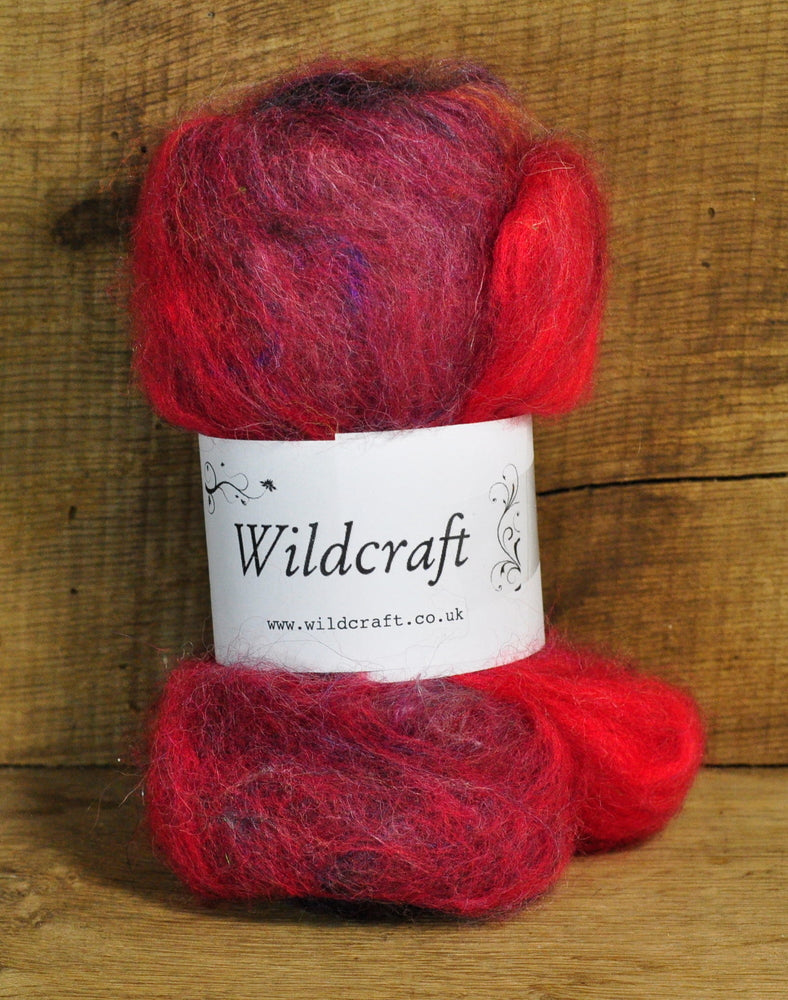 Carded Wool/Luxury Fibre Mystery Batt 50g - 'Peacock Butterfly'