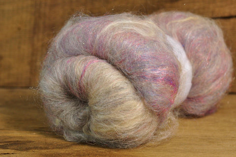 Carded Wool/Luxury Fibre Batt 50g - 'Polar Glimmer'