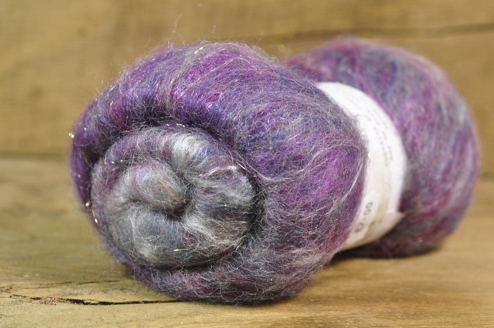 Carded Wool/Luxury Fibre Batt 50g - 'Purple Cloud'