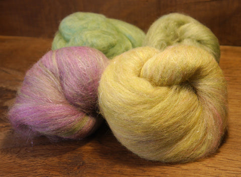 Carded Wool/Luxury Fibre Batt Set, 100g - 'Spring Shoots'