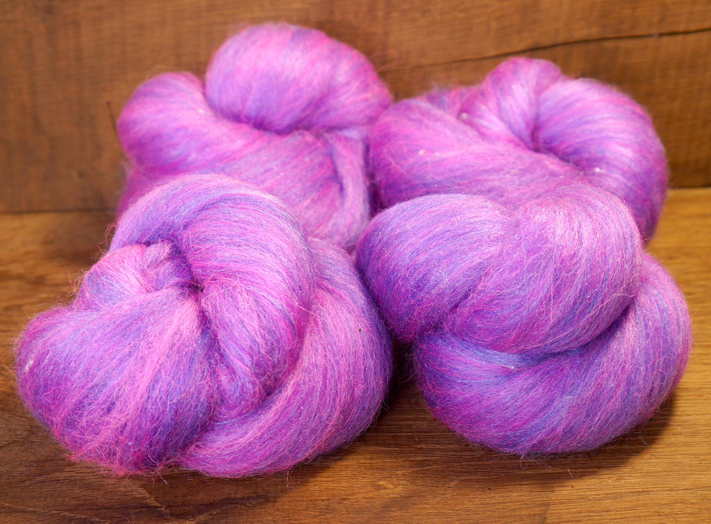 Carded Wool/Luxury Fibre Batt Set, 100g - 'Hyacinth Purple'