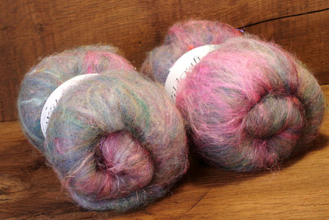 Tweedy Carded Wool/Luxury Fibre Mystery Batt Set 100g - 'Spring Mist'