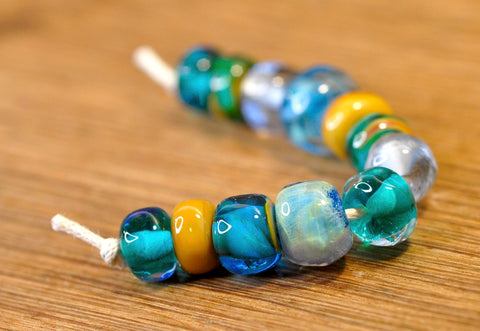 Handmade Lampwork Glass Beads - Aqua Nugget Mix 2