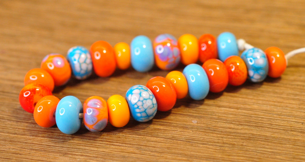 Handmade Lampwork Glass Beads - Coral-Turquoise Mix