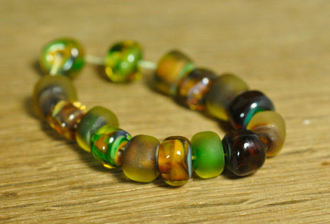 Handmade Lampwork Glass Bead Set - Forest Green Nuggets