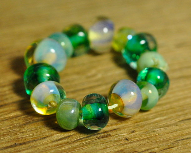 Handmade Lampwork Glass Bead Set - Green and 'Opal' Nuggets
