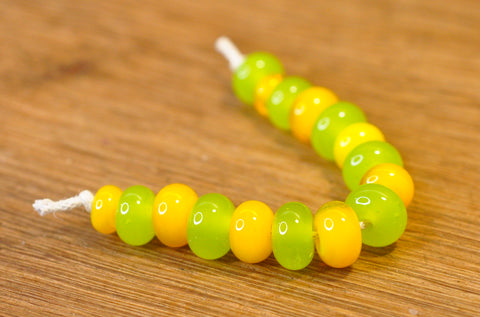 Handmade Lampwork Glass Beads - Lemon-Lime Mix