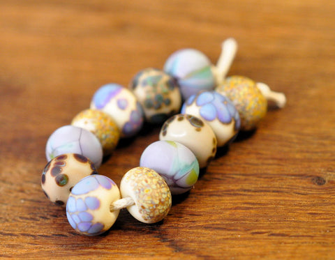 Handmade Lampwork Glass Beads - Lilac and Brown Multi-Patterned Set