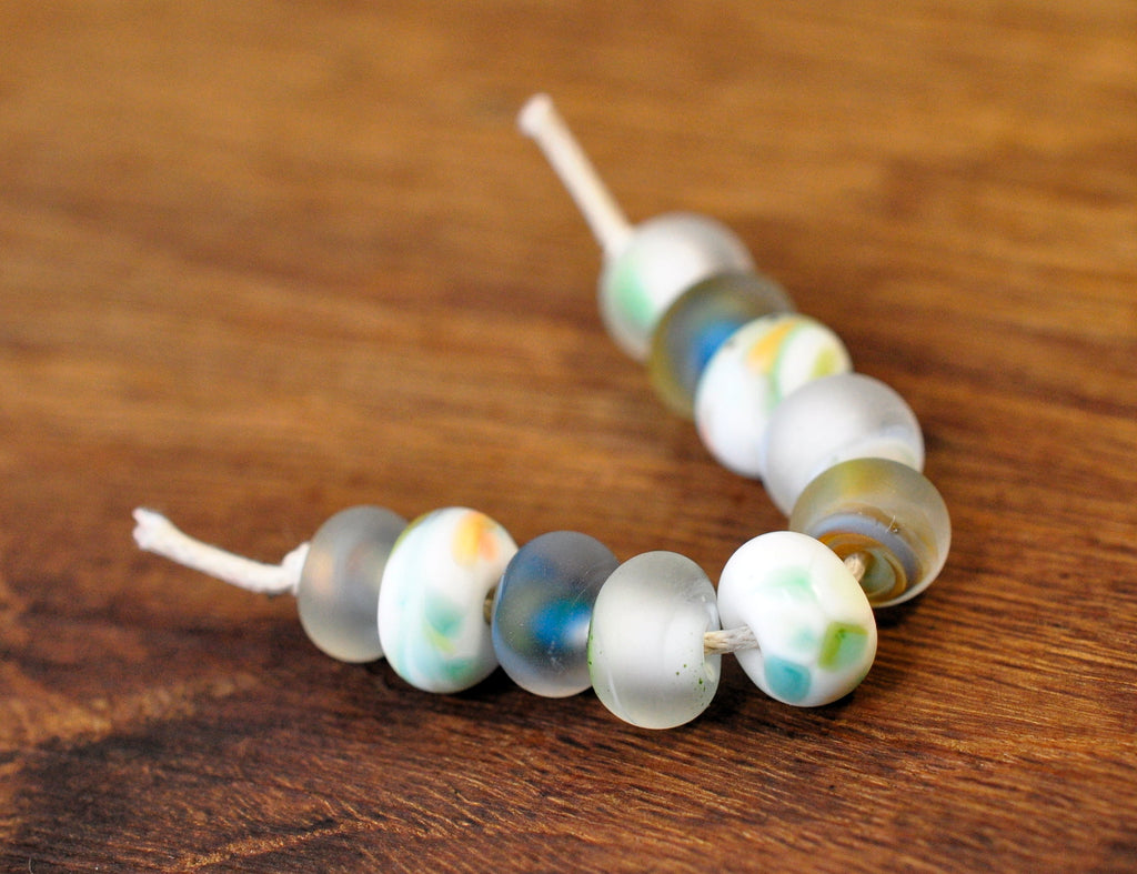 Handmade Lampwork Glass Beads - Misty White and Green