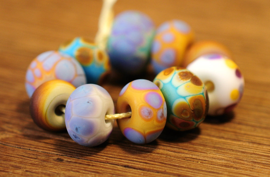Handmade Lampwork Glass Beads - Fritty Designs, Natural Colours, Set 1