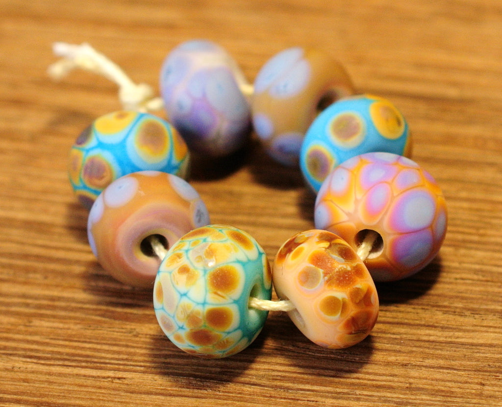 Handmade Lampwork Glass Beads - Fritty Designs, Natural Colours, Set 3