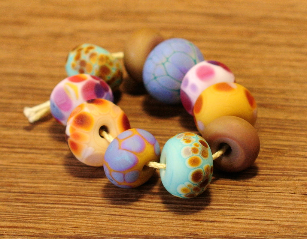 Handmade Lampwork Glass Beads - Fritty Designs, Natural Colours, Set 4