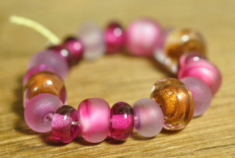 Handmade Lampwork Glass Bead Set - Purple and 'Copper' Nuggets