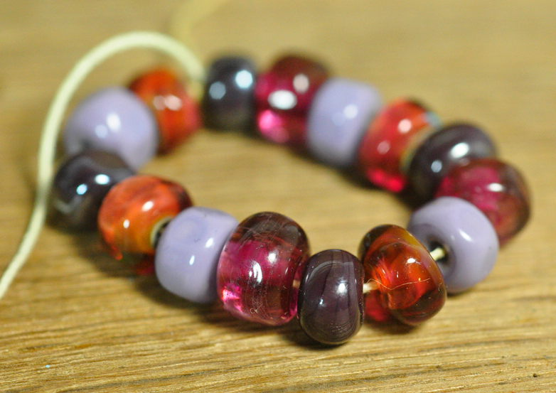 Handmade Lampwork Glass Bead Set - Purple and 'Graphite' Nuggets