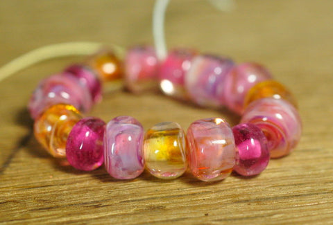 Handmade Lampwork Glass Bead Set - Raspberry and Topaz Nuggets