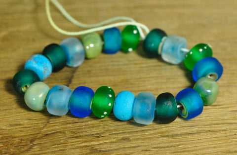 Handmade Lampwork Glass Bead Set - Teal and Green Nuggets