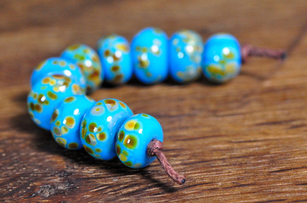 Handmade Lampwork Glass Beads - Turquoise/Brown Speckles