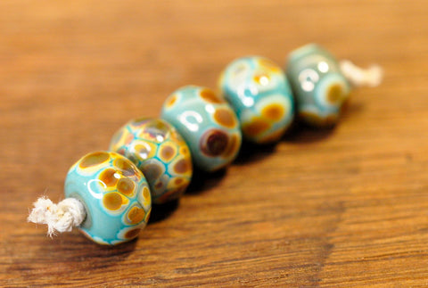 Handmade Lampwork Glass Beads - Turquoise-Green with Brown Speckles
