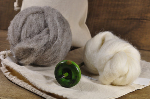 Beginner's Drop Spindle Kit - Green
