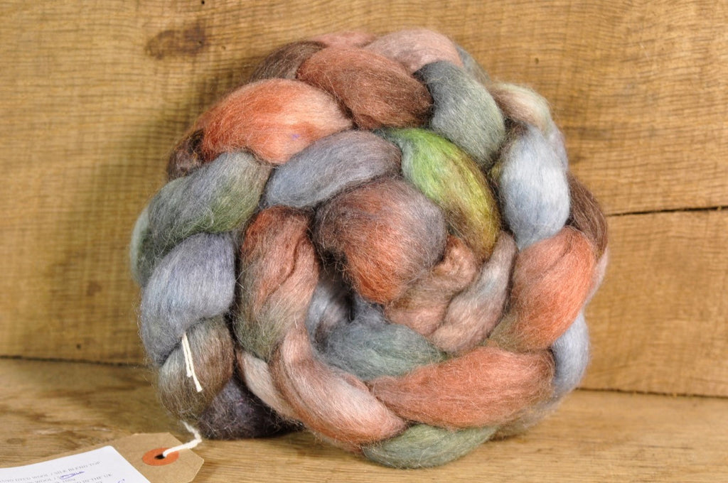 BFL/Alpaca/Silk Top for Hand Spinning - 'Woodland Mist'