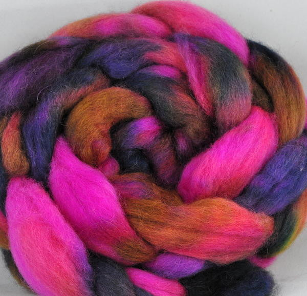 BFL Wool Top for Hand Spinning - Bonfire Night