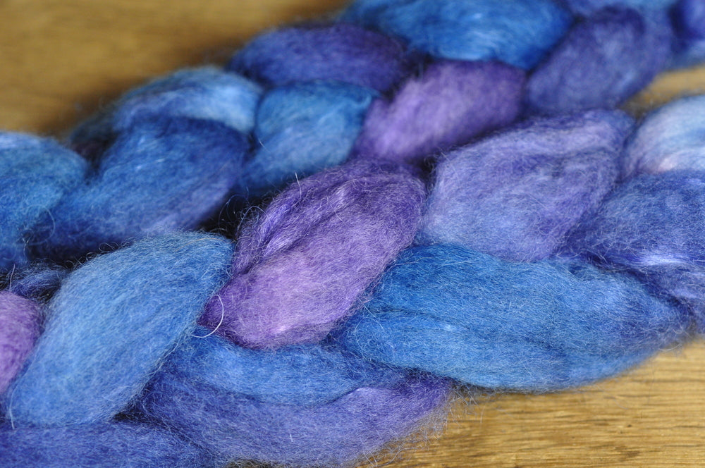 Hand Dyed Bluefaced Leicester Wool (BFL) and Kid Mohair Top for Spinning or Felting - 'Atlantic'