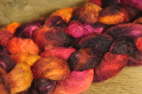 Hand Dyed Bluefaced Leicester Wool (BFL) and Kid Mohair Top for Spinning or Felting - 'Burnt Orange'