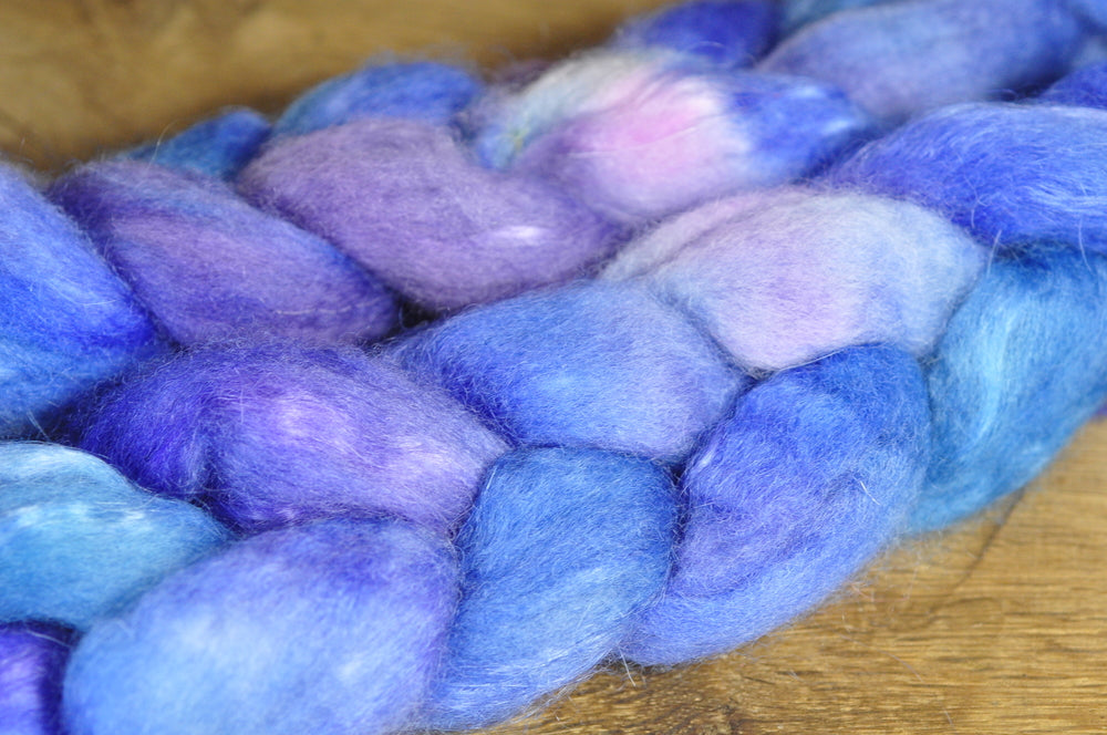 Hand Dyed Bluefaced Leicester Wool (BFL) and Kid Mohair Top for Spinning or Felting - 'Mediterranean'
