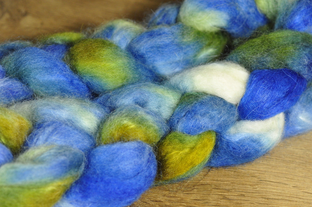 80g Hand Dyed Bluefaced Leicester Wool (BFL) and Kid Mohair Top for Spinning or Felting - 'Rock Pool'