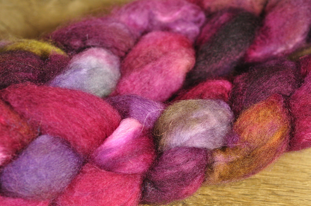 Hand Dyed Bluefaced Leicester Wool (BFL) and Kid Mohair Top for Spinning or Felting - 'Thistle'