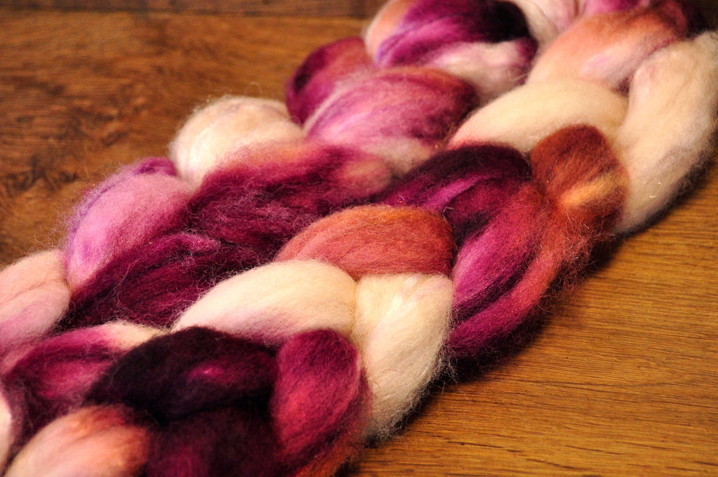 BFL Wool Top for Hand Spinning - 'Blackberry Cream'