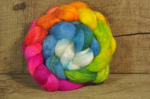 BFL Wool / Sparkly Nylon Top - 'Bright Rainbow'