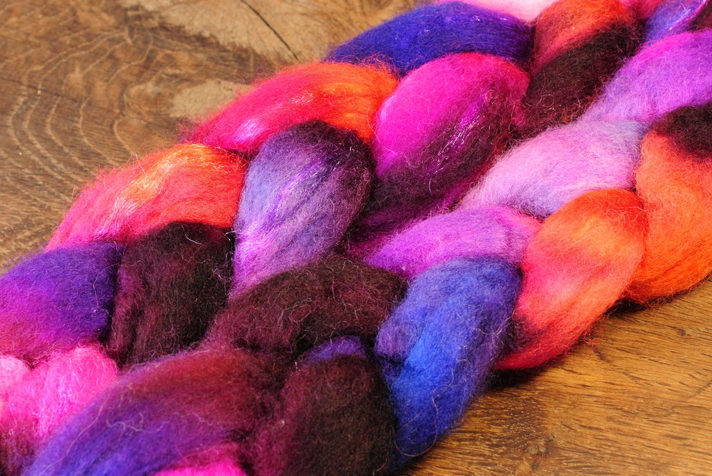 BFL Wool / Sparkly Nylon Top - 'Fireworks'