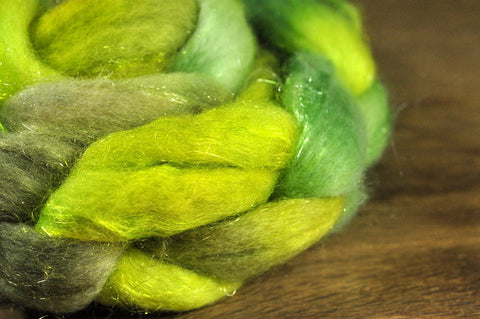 BFL Wool / Sparkly Nylon Top - 'Granny Smith'