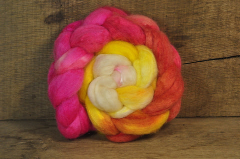 BFL Wool / Sparkly Nylon Top - 'Peach Melba'