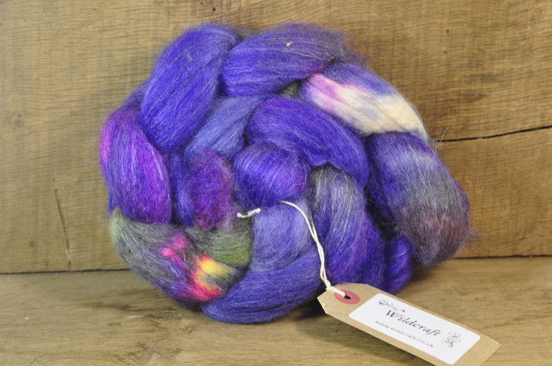 Luxury BFL/Silk/Rose/Camel Down Top for Hand Spinning -'Delphinium'