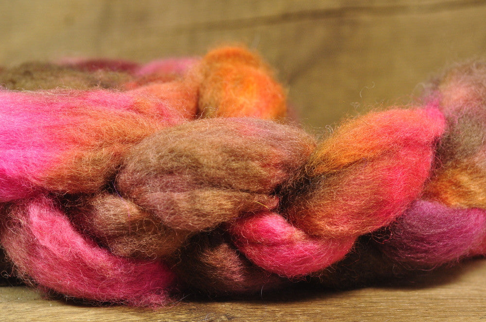BFL Wool Top for Hand Spinning - 'Rusted Petals'