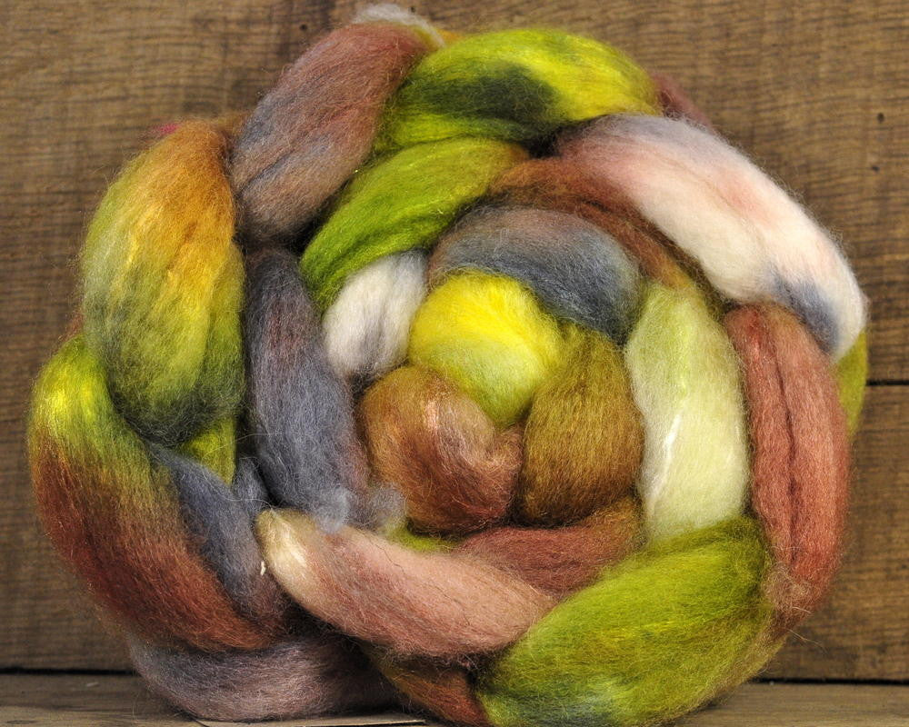 BFL/Silk Top for Hand Spinning - 'Jungle'