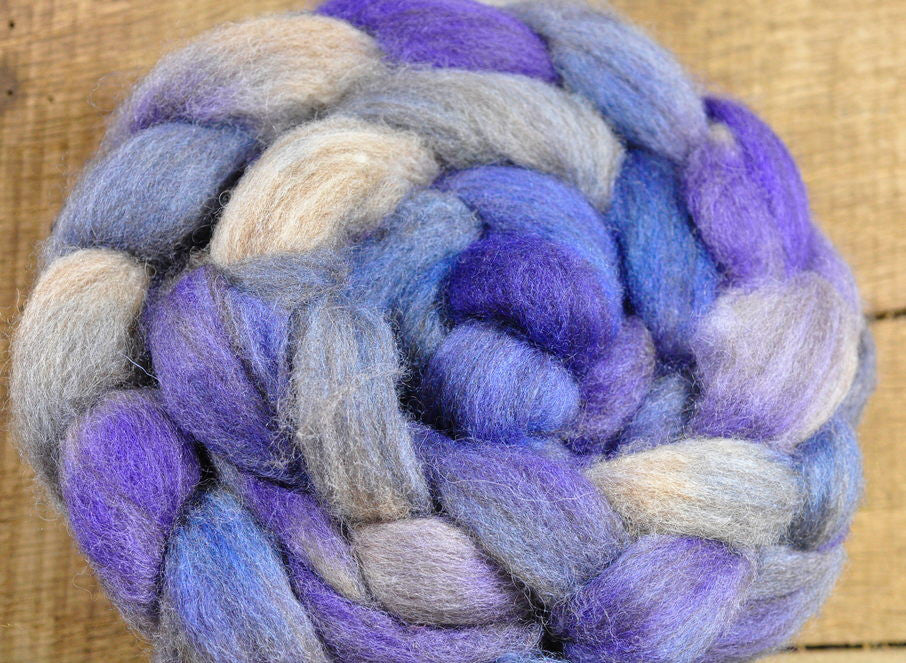 BFL Wool Top for Hand Spinning - 'Worn Denim'