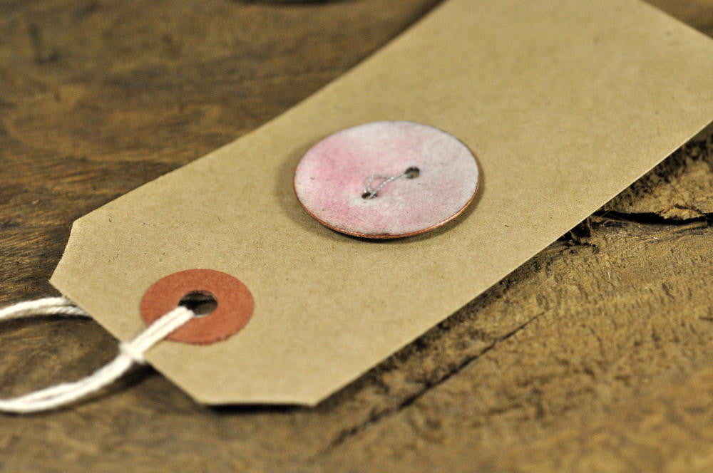 Single Handmade Enamelled Copper Button - Blush Pink