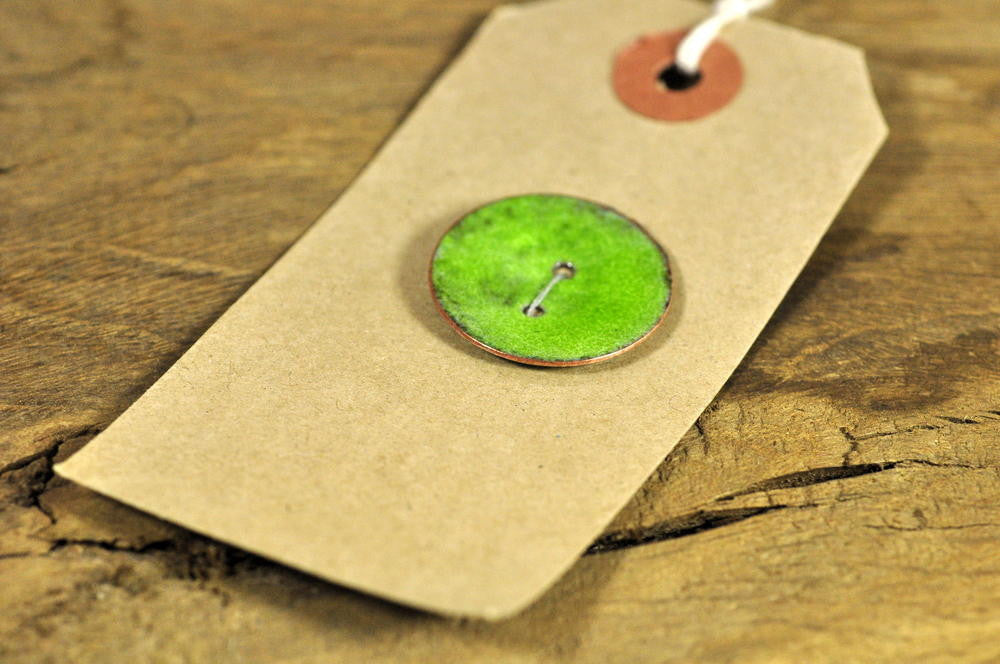 Single Handmade Enamelled Copper Button - Lime Green